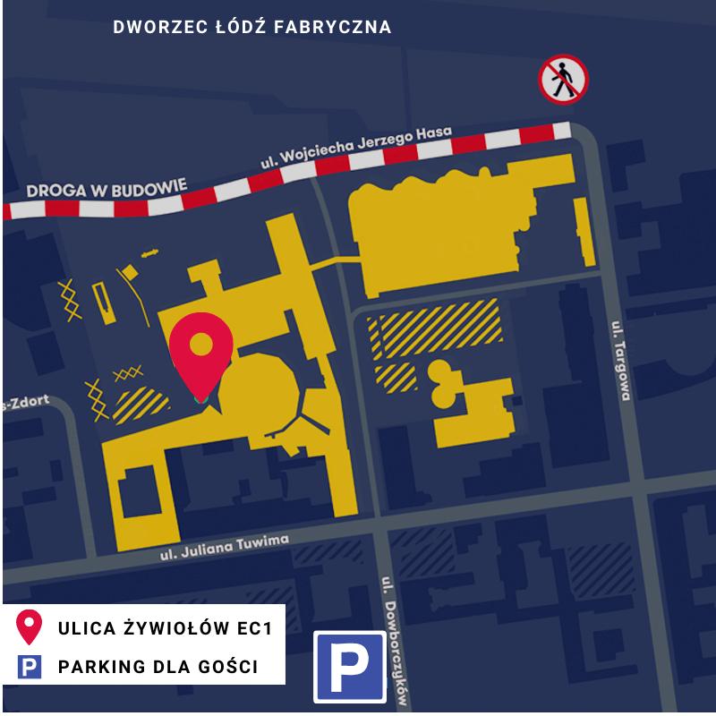 Mapa dojazdu do Ulicy Żywiołów EC1